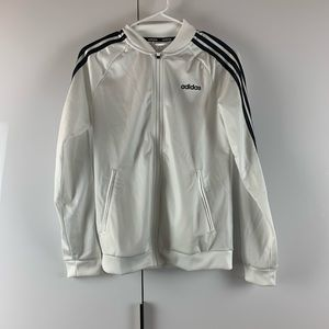 NWT White adidas zip up hoodie with black stripes
